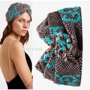 Gucci GG Monogram Sequin Turban Headband